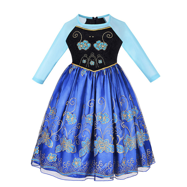 Girls Anna Dress Princess Cosplay Costume with Cape Chidren Party Carnival Halloween Clothes Kids Anna Elsa Fantasy Dress Set 2