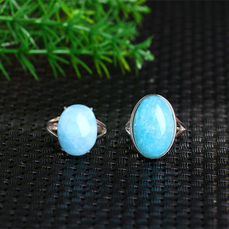 Одноцветное Серебро 925 Природный Овальный голубой камень Кольца Для женщин тонкая полоска Настоящее стерлингового серебра 925 простой Стиль...