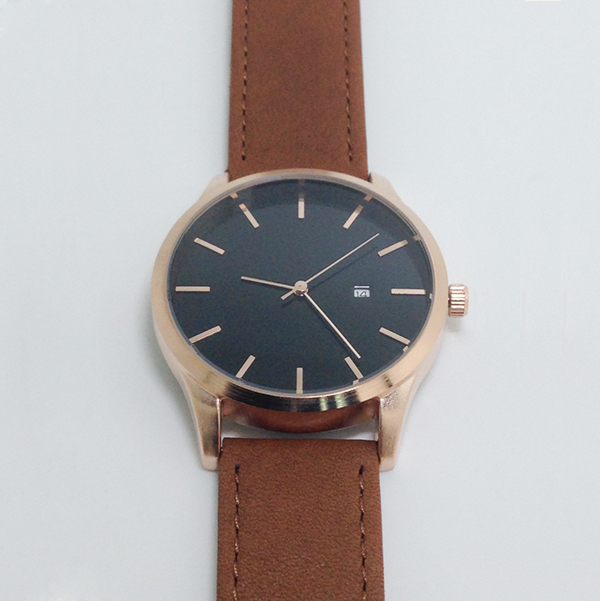 Rose Gold Watch Women No Name Brown Genuine Leather Watch Band Date Function Movement Japan no name bri 1