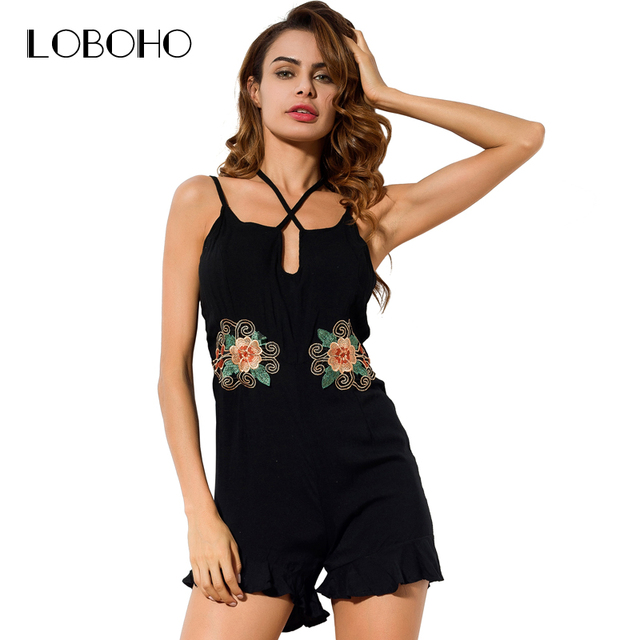 d2528fb4fce2 Sexy Slim Jumpsuit Short With Embroidery Flowers 2018 Summer Romper Black  Green Lace Up Strap Backless Ruffle Playsuit Women