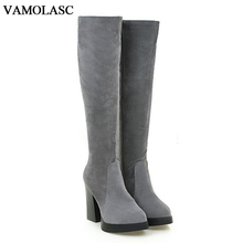 VAMOLASC New Women Autumn Winter Faux Suede Knee High Boots Zipper Square High Heel Boots Platform Women Shoes Plus Size 34-43