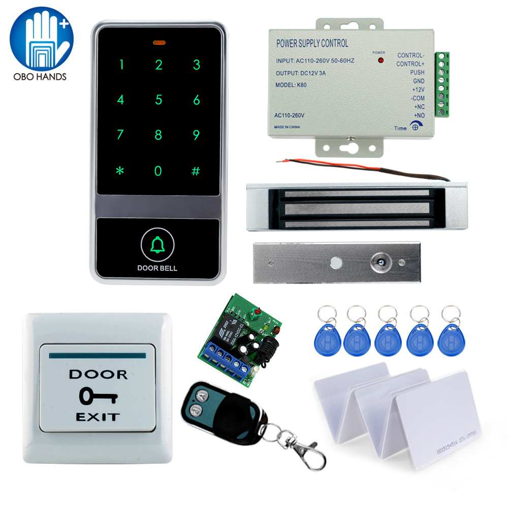 Free shipping access control system KIT DIY Set C60ID+ magnetic lock+power supply+key fobs+door bell+exit button+remote control la roche posay hydraphase intense маска 50 мл