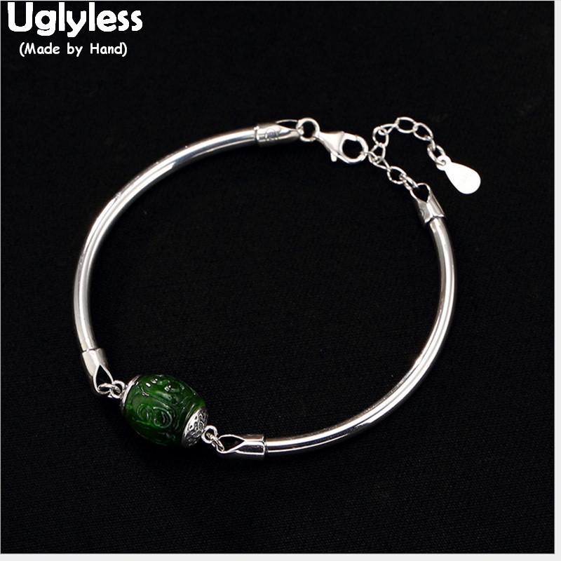 Uglyless Real 925 Sterling Silver Bangle Women GOOD LUCK Rotating Bead Bangles Nature Jasper Fine Jewelry Vintage Ethnic BijouxUglyless Real 925 Sterling Silver Bangle Women GOOD LUCK Rotating Bead Bangles Nature Jasper Fine Jewelry Vintage Ethnic Bijoux
