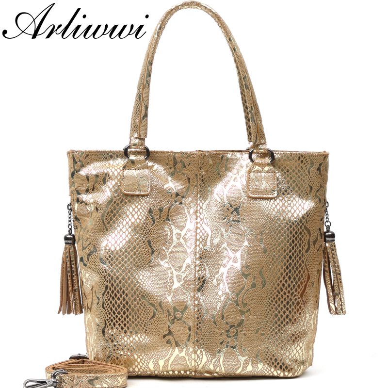Arliwwi Brand Designer Female Real Leather Serpentine Embossed Shoulder Bags Women Genuine Suede Cow Leather Cross body Handbags