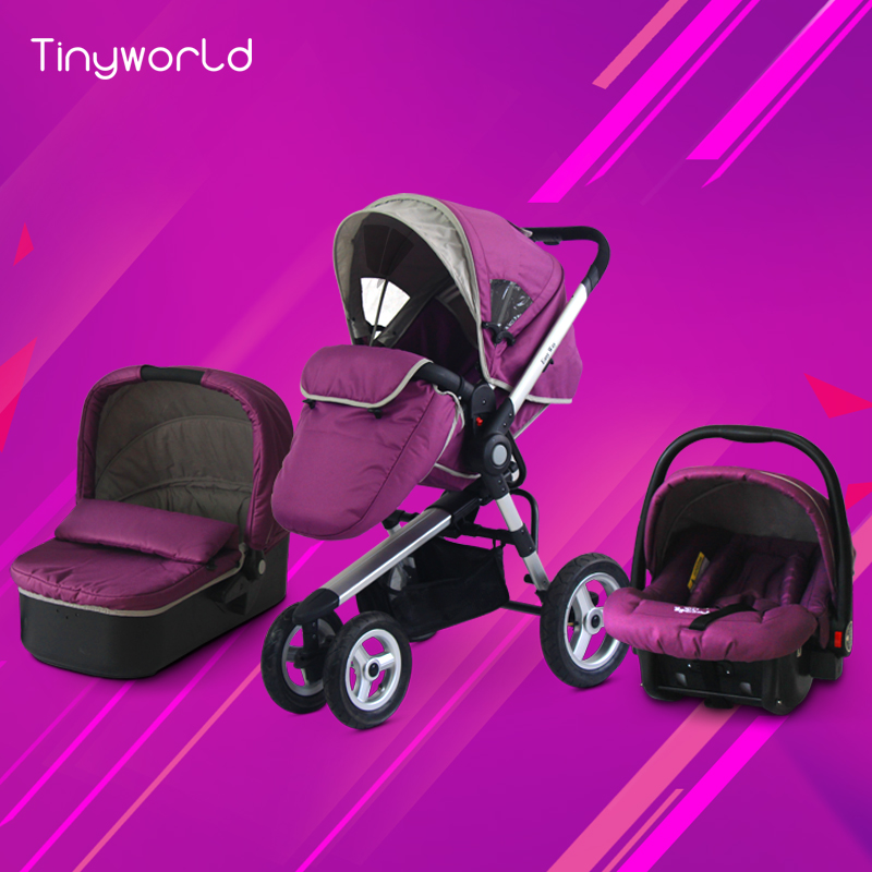 Tinyworld 3 in 1 baby stroller purple color send car seat send baby sleeping basket 0~4 years old baby use