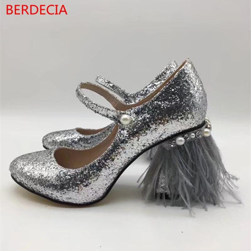 2017 women pearl string bead square heel pumps frange women party wedding shoes ankle wrap