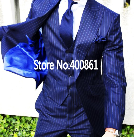 K:2202 jacket+pants+vest+tie Classic Blue Stripe Mens Dinner Party Prom Suits Groom Tuxedos Groomsmen Wedding Blazer Suits