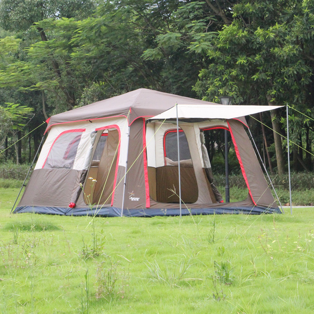 Landwolf Brown color Ultralarge 6 10 12 double layer outdoor 2living rooms and 1hall family camping tent include 1set front pole