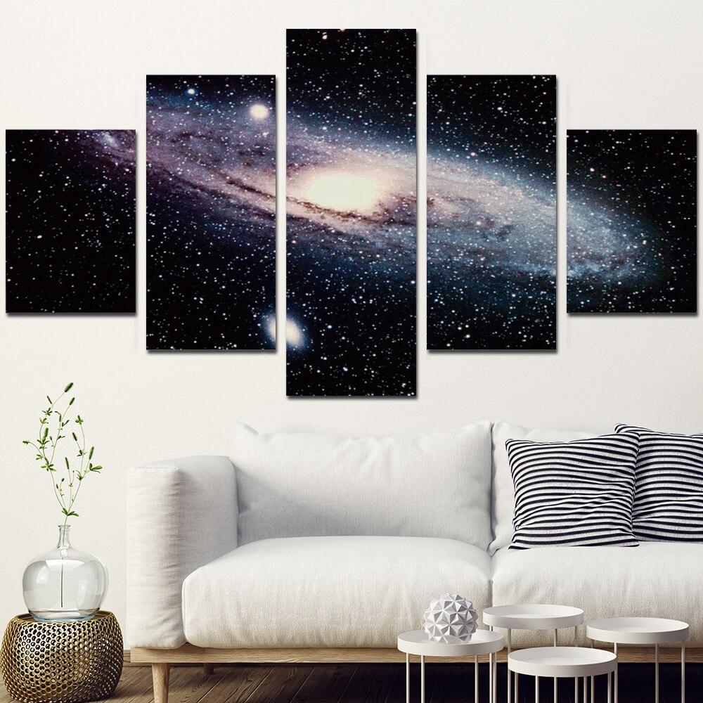 Wanddecoratie Op Canvas.Ca Poster Galaxy Van Ruimte 5 Stuk Canvas Schilderij Set