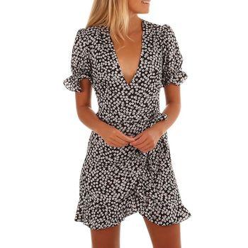 Fashion Mini Dress Summer Bohemian Sexy Deep V-neck Casual Short Sleeve Irregular Ruffles Belt Beach Dresses 7655
