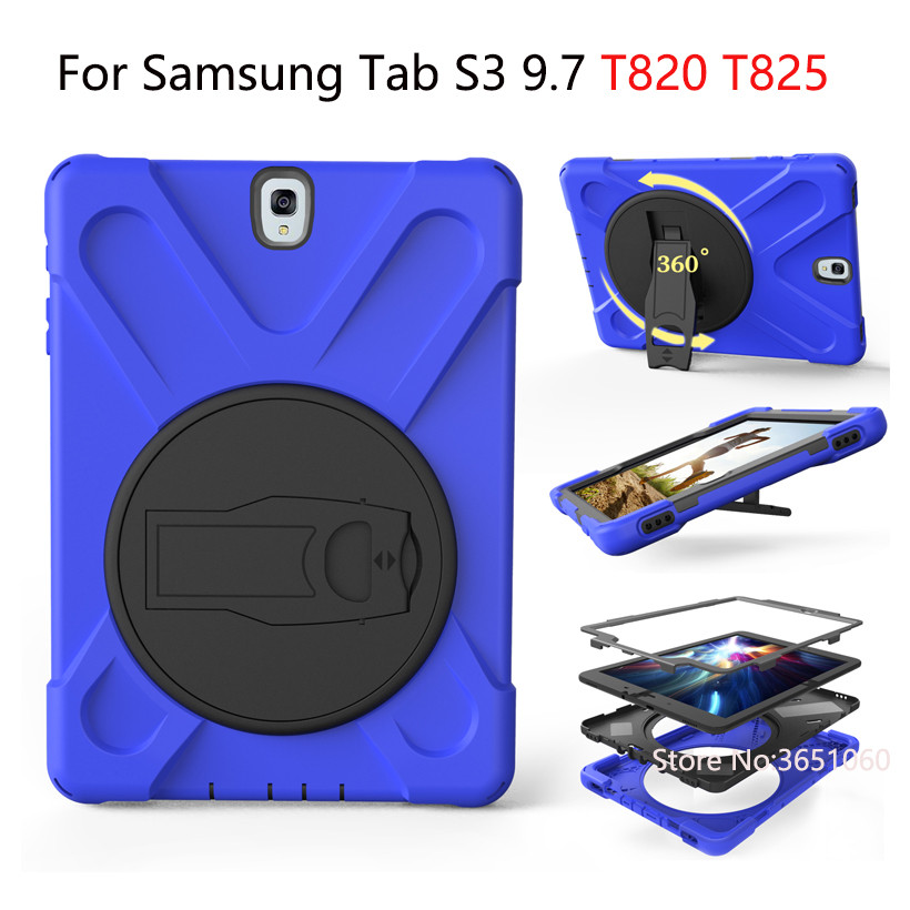 Case For Samsung Galaxy Tab S3 9.7 SM-T820 T825 Cover Shockproof Kids Protector Heavy Duty Silicone Hard Kickstand Tablet Shell