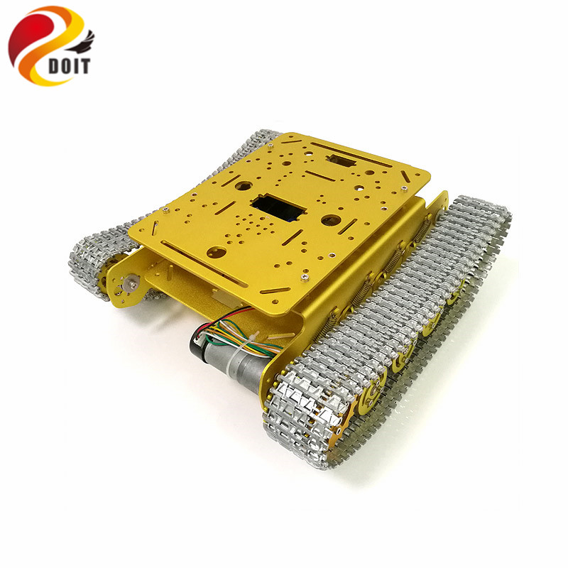 DOIT RC TS100 Shock Absorption All Metal Robot Tank Chassis with Aluminum Alloy Chassis Frame Robotic Arm Interface Holes