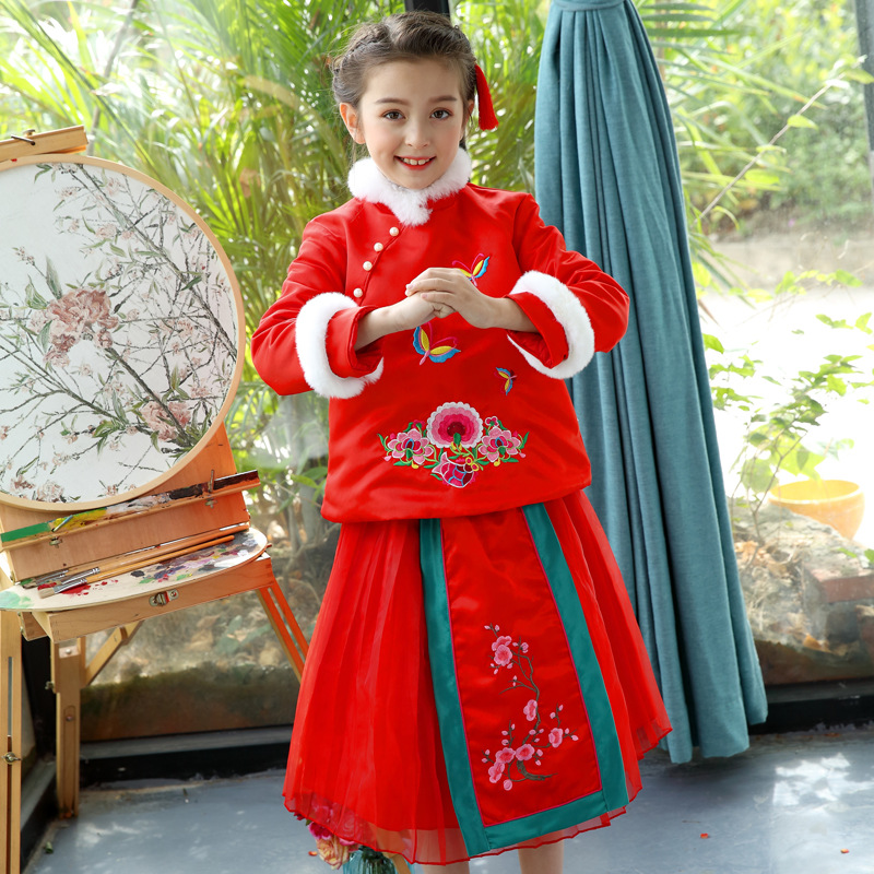 SIMTREE girls cheongsam Chineses tranditional style dress graceful chi pao new year princess skirt sets embroidery flower red