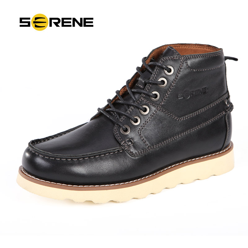 ФОТО SERENE Brand 2017 Autumn & Winter  New Arrival Men Casual Boots Full Grain Leather  Motorcycle Solid Boots Tooling Boots 3226
