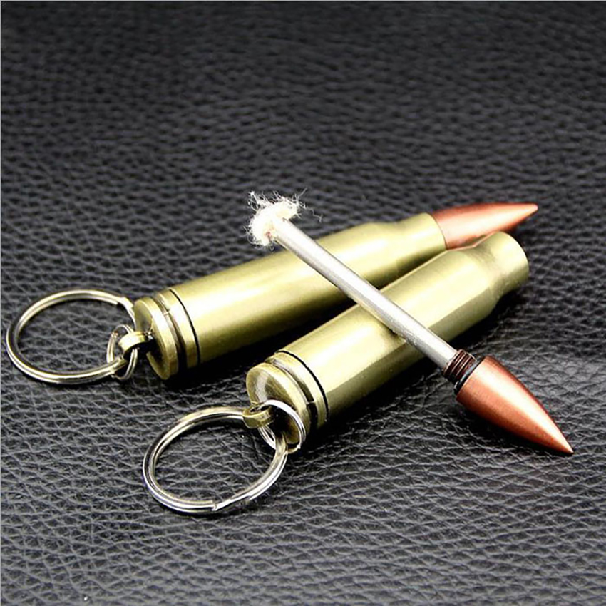 bullet shape waterproof flint matches fire starter and lighter for cigarettes