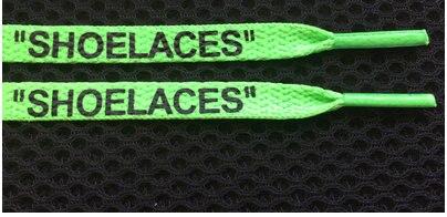 """Vieruodis печать """"шнурки"""" черный белый оранжевый зеленый OW подписанные шнурки для офф обуви овальные веревочные шнурки - Цвет: green-black letter"""