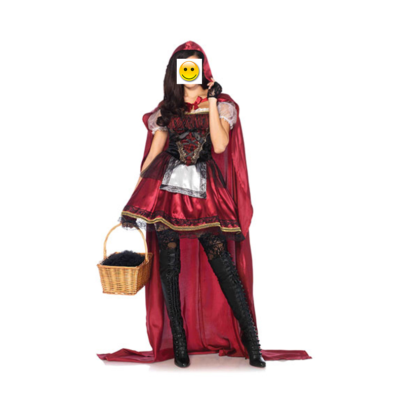 VASHEJIANGhigh quality Fairy Tales Little Red Riding Hood Costume Long Red Cap Fantasy Game Uniform Halloween Costume For Women
