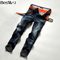 Beswlz Dos Homens Denim Jeans Reta Masculino Magro Calças Jeans Da Moda Clássica Casual Estilo Homens de Negócios Azul Jeans Rasgados 9512