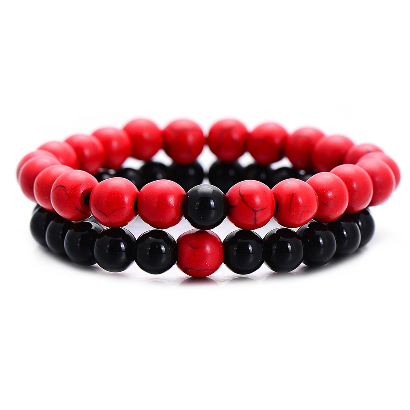 Classic Red and Black Natural Stone Distance Bracelet for Women Men Fashion Strand Bracelets & Bangles Lovers Gifts Jewelry