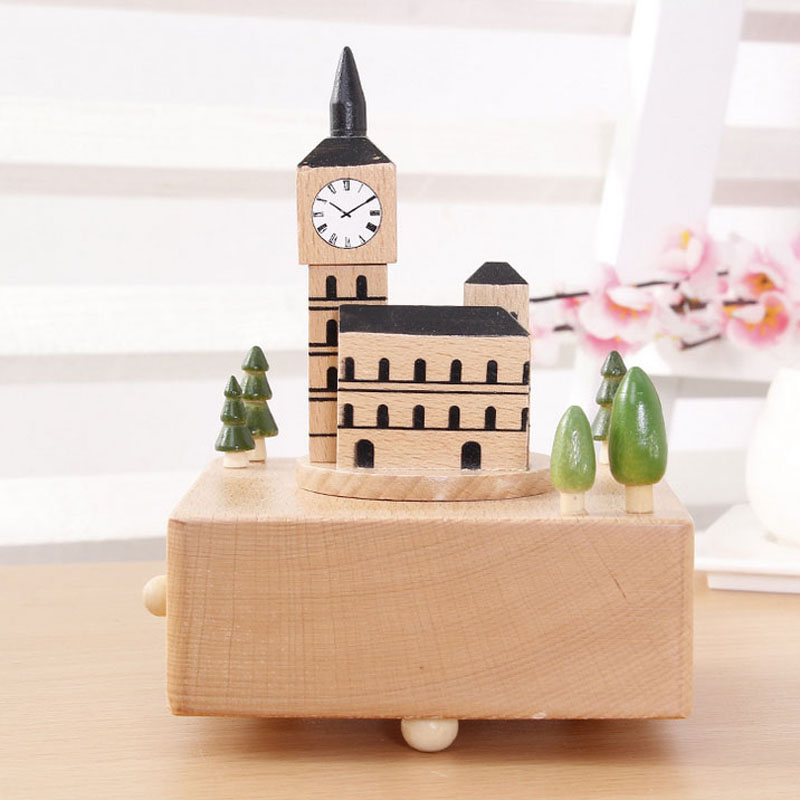 1 Piece Wood Big Ben Music Ofbox Canon Variations Classic Toy For Children Wind Up Toy Clockwork Handmade Creative Birthday Gift