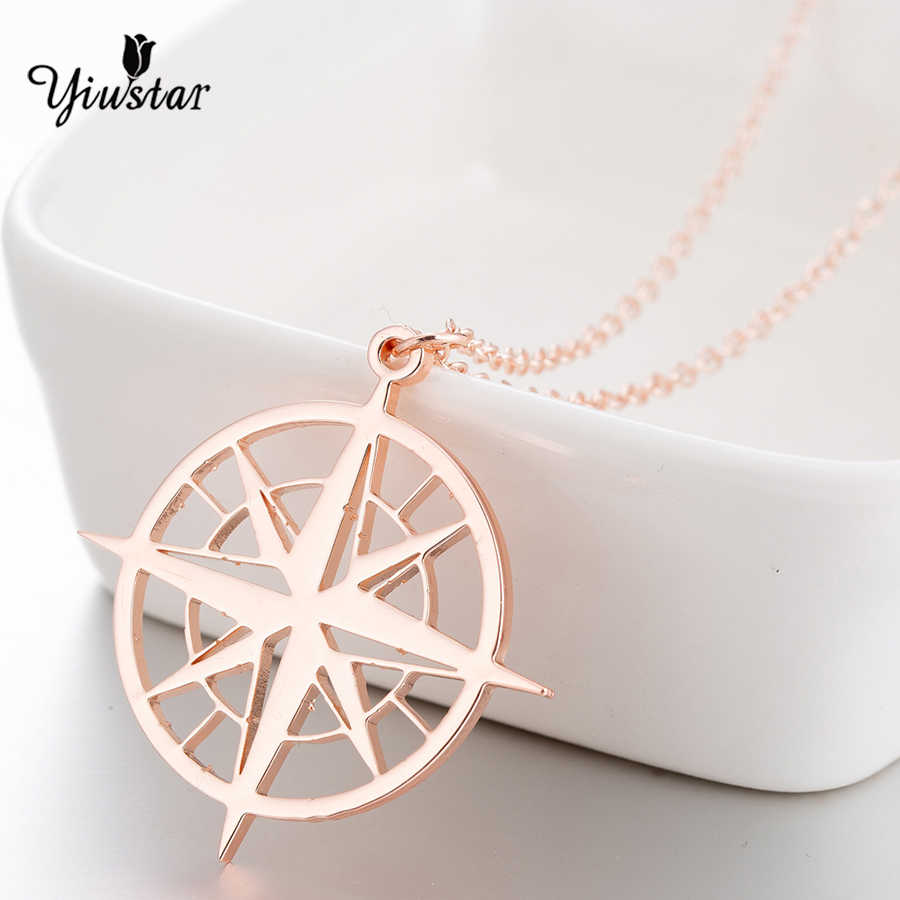 yiustar Compass Pendant Necklace Stainless Steel Necklaces For Women Rose Long Chain Necklace Chokers chain boho collares