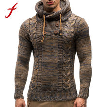 Casual Men's Sweaters Winter Pullover Knitted Fashion Hooded Sweater Harajuku Outwear Autumn Khaki Black Button Sweaters(China)