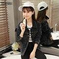 Las mujeres de Mezclilla Color del Gradiente de la Manga Murciélago Suelto Chaqueta Da Vuelta-Abajo 2016 Otoño Superior Botones de Bolsillo Negro Jeans Coat