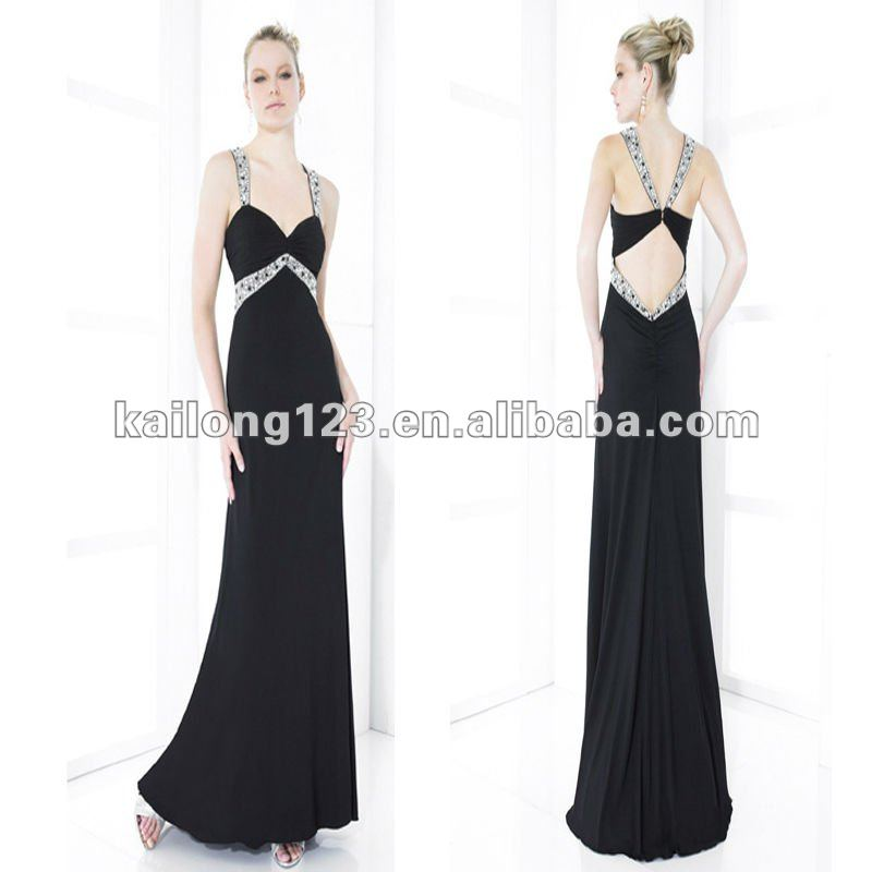 7134c2c0a4eb7 Bling Bling Sweetheart Beaded Straps Empire Waist Ruched Bodice Flowing Long  Skirt Black Chiffon Evening Dress