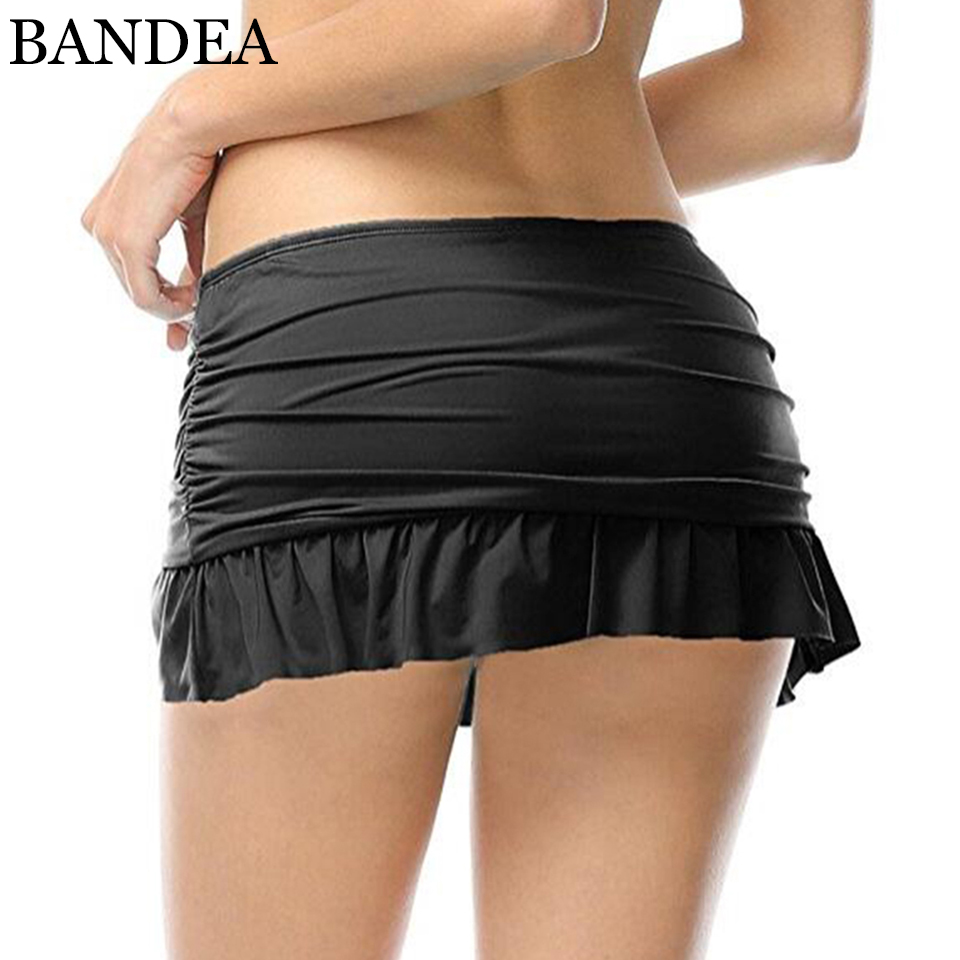 BANDEA bikini bottoms women solid flounce skirted sport bikini bottom mid waist panties sexy swim wear briefs plus size 289