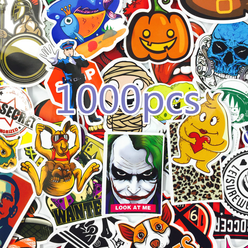 1000 pçs estilo mix adesivos geladeira skate brinquedos legal jdm doodle decalques decoração da sua casa bagagem estilo do carro bicicleta portátil diy adesivo