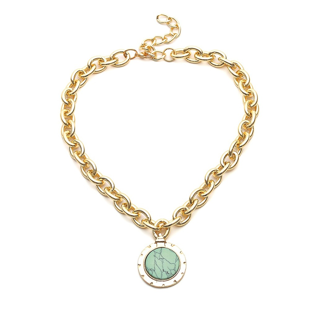 KMVEXO European and American Fashion Gold Color Temperament Round Resin Statement Vintage Chain Bib Necklaces 19 New 9