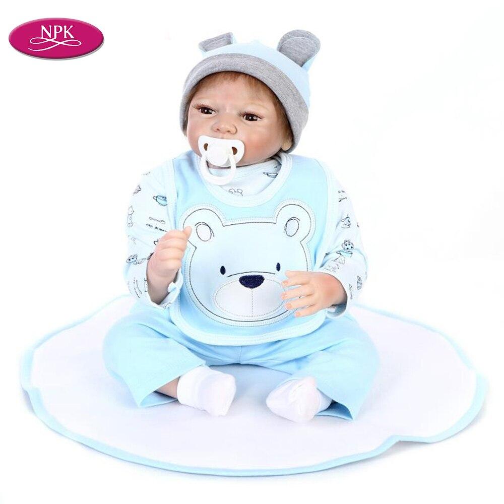 NPK 55CM jouet De Silicone réaliste garçons Reborn poupée doux coton corps réaliste Reborn bébés Menino Boneca enfant cadeau d'anniversaire