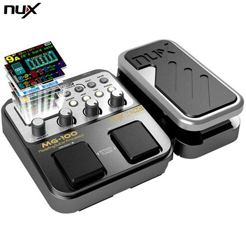 NUX MG-100 Guitar Effect Pedal Multi-Function Drum Tuner 58 Effects In One Box Modeling Guitar Processor Effect Pedal Hot Sale nux mg 20 electric guitar multi effects pedal guitarra modeling processor with drum machine eu plug