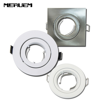 10pcs/lot Ceiling Square/Round aluminium body double ring without lamp source /Single Rotation /GU10/MR16 Socket lighting base
