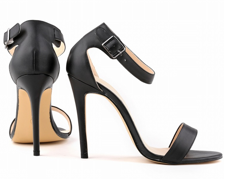 ФОТО Large size high-heeled sandals 2017 summer new hasp fine with pu leather shoes, women sandals nightclub, wedding party shoes