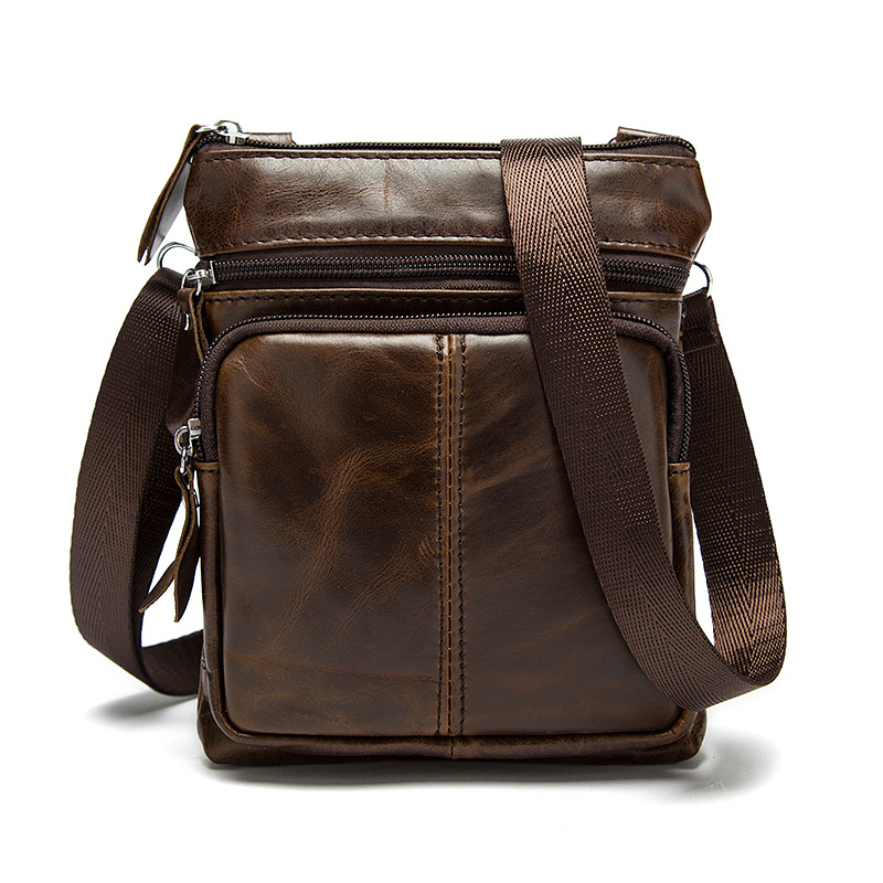 Genuine Leather Men Messenger Bag Casual Large Man Shoulder Bag Small Handbag Vintage Male Kawaii Uneven Travel Totes for Boys