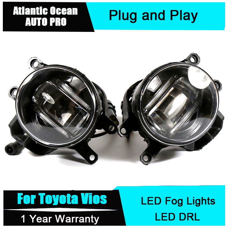 Auto Pro Car Styling LED fog lamps For Vios led DRL with lens 2009-2015 For Vios LED fog lights+led DRL parking for opel astra h gtc 2005 15 h11 wiring harness sockets wire connector switch 2 fog lights drl front bumper 5d lens led lamp