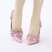 9cm Pink Satin High Heel Shoes Pointed Toe Wedding Bridal Shoes Crystal Clear Heel Envening Party Prom Size 34-42