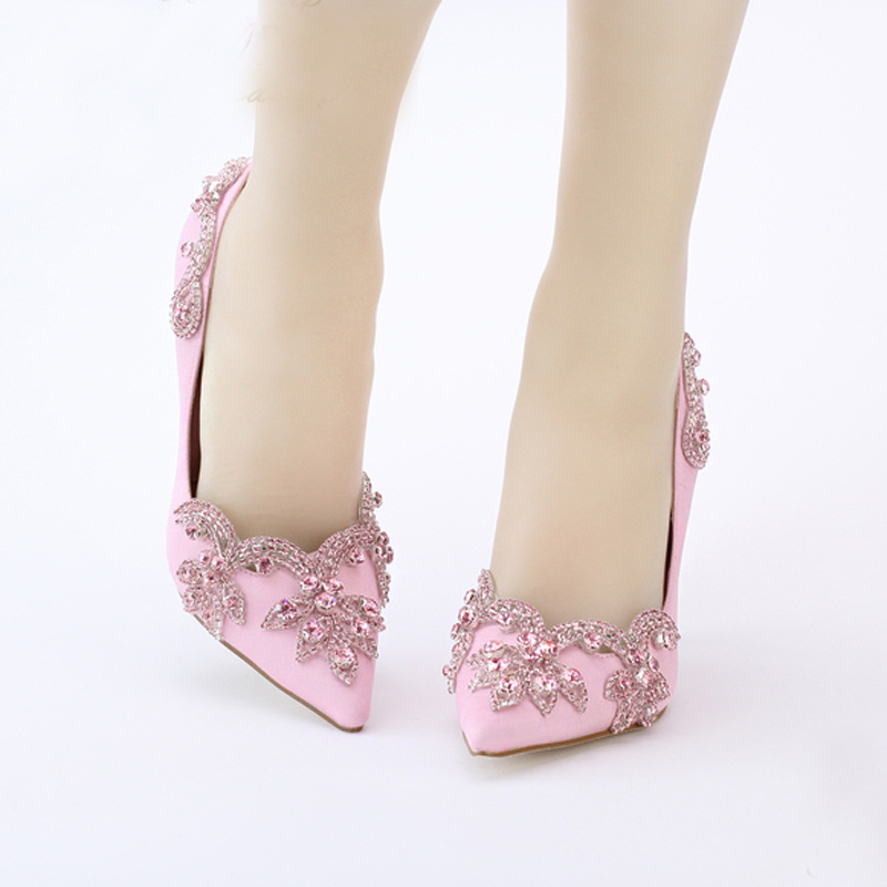 9cm pink satin high heel shoes pointed toe wedding bridal shoes crystal clear heel envening party