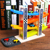 Multi function Children Wooden Rails Glider Baby Fun Early Learning Inertia Slide Road Speed Car Toys