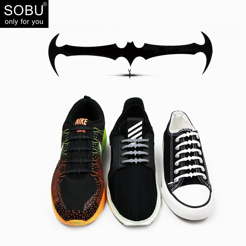 16pcs/lot elastic silicone shoelaces 2018 newest creative black white bat shaped no tie silicone shoelaces for all shoes N082 fggs shoelaces light for shoes 60 cm white