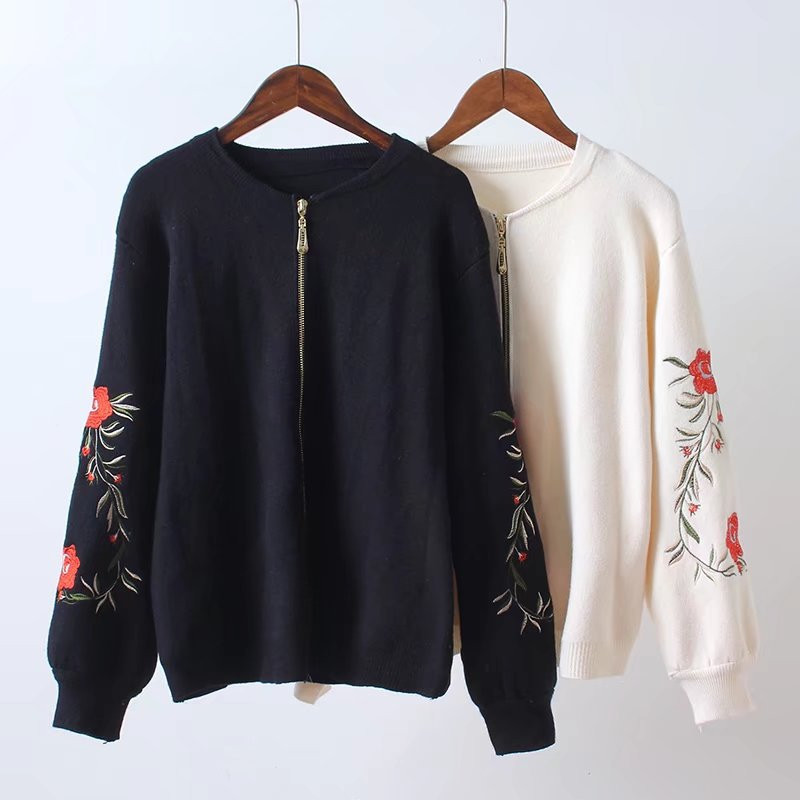 DLOV DESIRE 2018 Casual Women Dresses Spring Embroidery Floral Zipper Knit Loose Outerwear Sweaters Cardigans Jumper Coat TS186