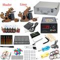 EUA Despacho Pro kits de Tatuagem Iniciante set 2 Metralhadoras 28 tintas Agulhas Apertos de Energia Conjunto de Equipamentos de Ponta Suprimentos K004