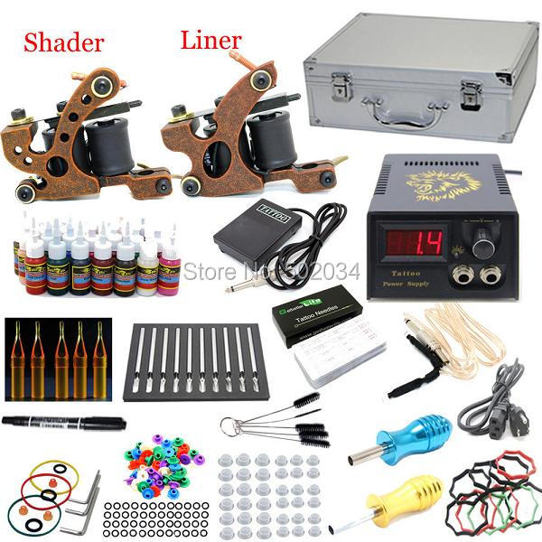 USA Dispatch Pro Beginner Tattoo kits set 2 Machine Guns 28 inks Power Grips Needles Tip Equipment Set K004 Supplies
