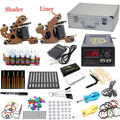 USA Dispatch Pro Beginner Tattoo kits set 2 Machine Guns 28 inks Power Grips Needles Tip Equipment Set K004 Supplies
