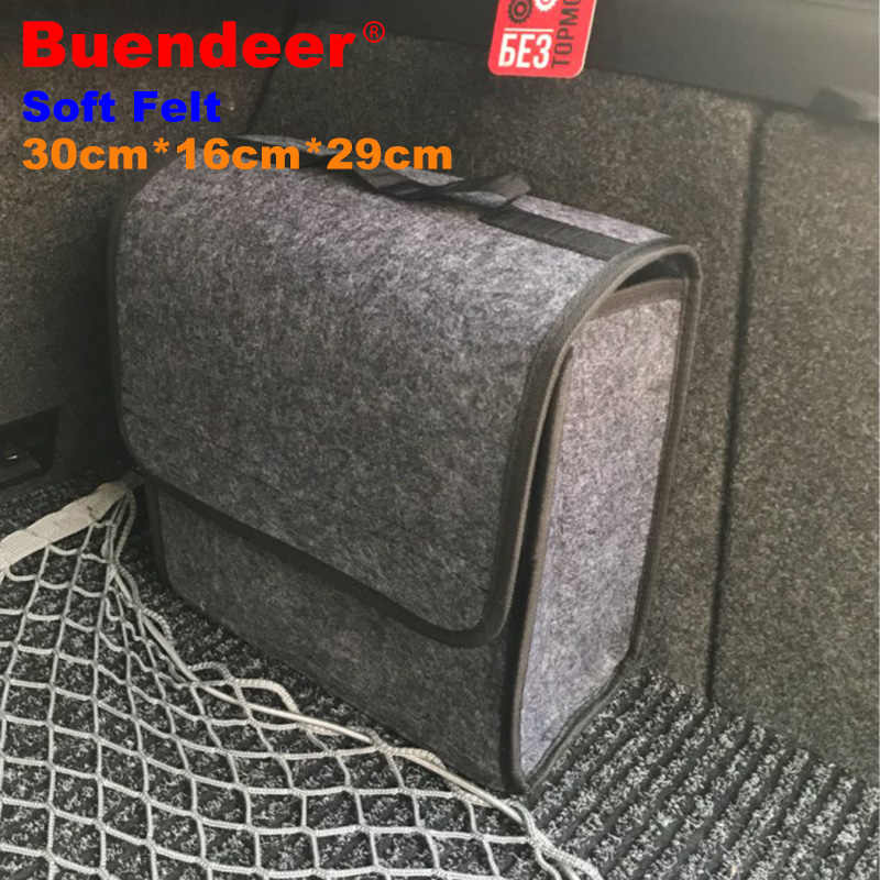 Buendeer soft Woolen Felt car trunk organizer 30*16*29cm Car storage box bag fireproof Stowing Tidying package blanket tool