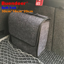 Buendeer soft Woolen Felt car trunk organizer 30*16*29cm Car storage box bag fireproof Stowing Tidying package blanket tool(China)