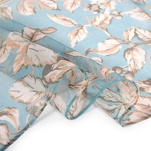 Image 4 - BYSIFA écharpe 100% en mousseline de soie pour femmes, écharpe de cou de marque, Design, feuilles, gris, kaki, châle de plage, automne et hiver