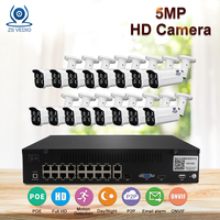 ZSVEDIO H.265 5.0MP IP Camera Kit Metal Outdoor 16ch NVR Onvif Private Protocol CCTV System Network P2P Monitoring Remote View