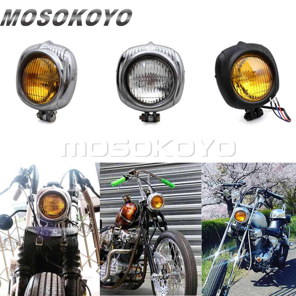 "Motorcycle 4.5"" Polished Headlight Sealed Beam 12V 60W High Low Beam for Harley Cafe Racer Scrambler Chopper"
